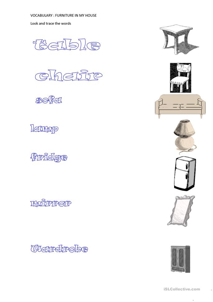 Furniture in my house - ESL worksheets