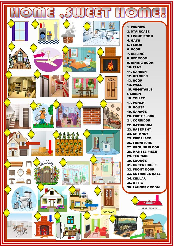Home sweet home: matching - ESL worksheets
