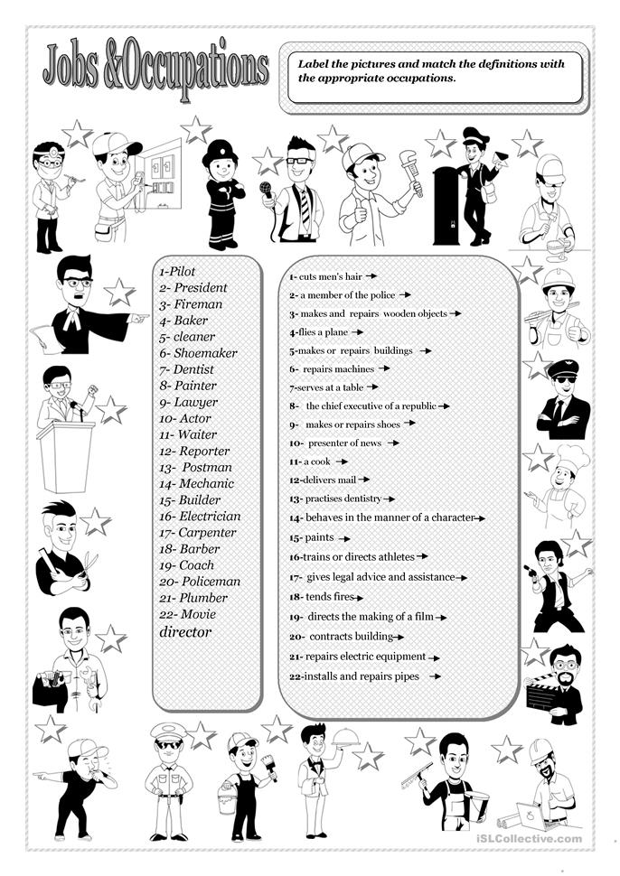 JOBS AND OCCUPATIONS - ESL worksheets