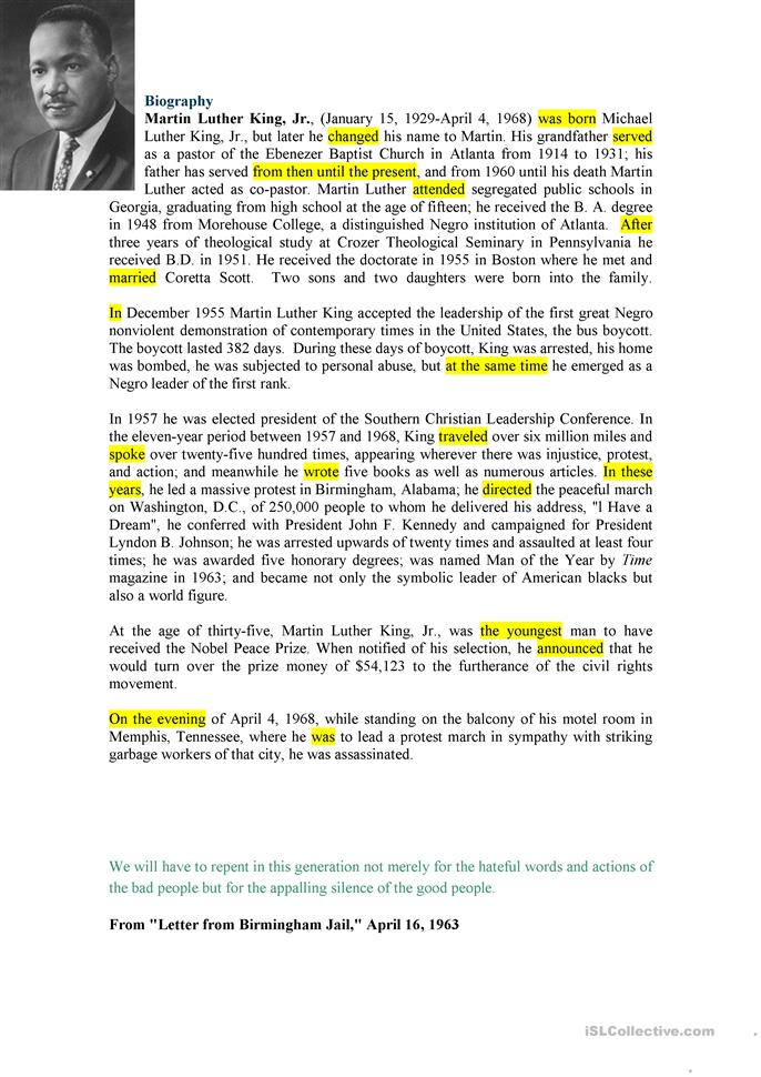 martin luther king biography worksheet free esl printable worksheets made by teachers. Black Bedroom Furniture Sets. Home Design Ideas