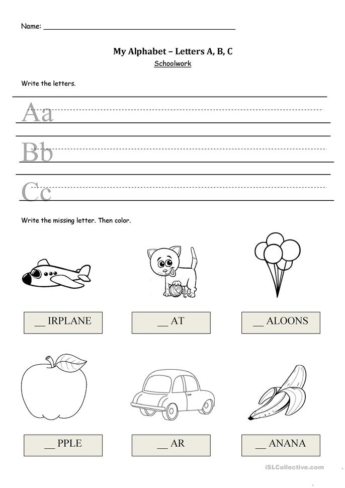 My Alphabet - A, B, C worksheet - Free ESL printable ...