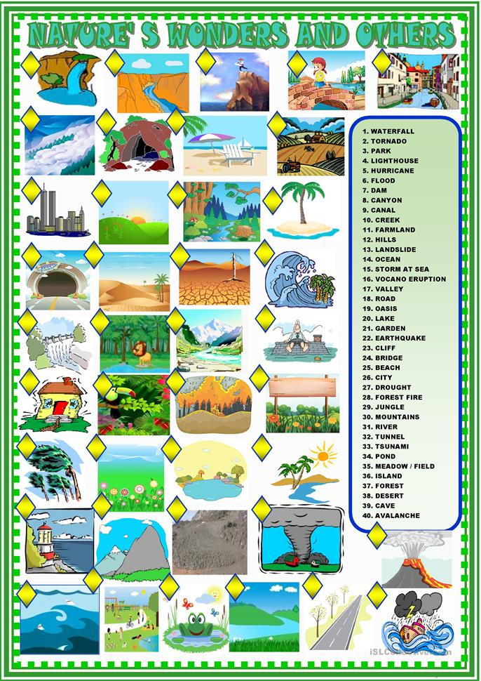 nature's wonders and others: matching - ESL worksheets