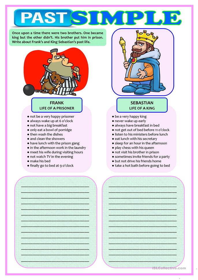 ONCE UPON A TIME - writing about past... - ESL worksheets