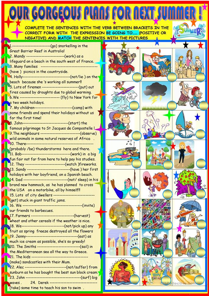 Our gorgeous plans for next summer - ESL worksheets