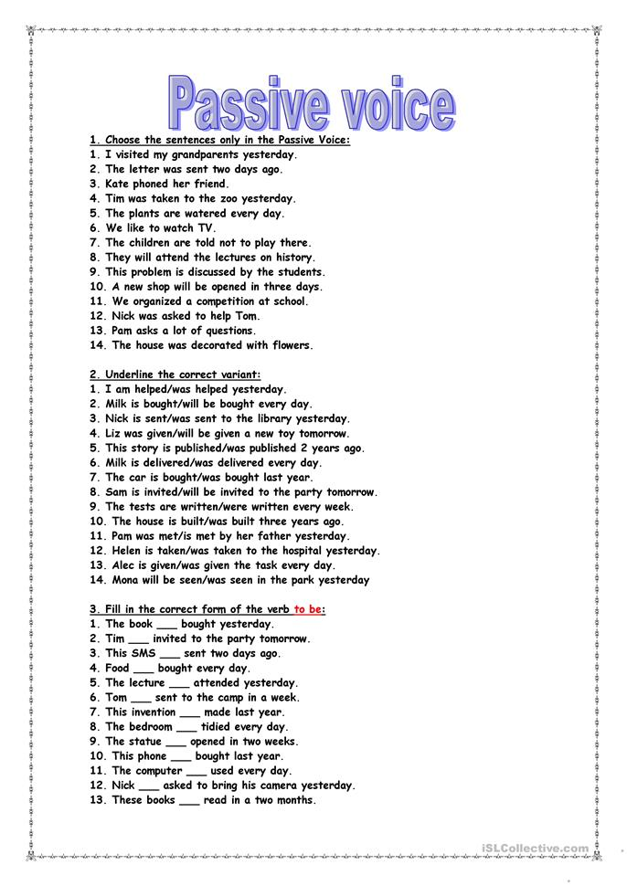 teaching passive voice essay Passive voice definition: the passive voice is a style of writing where what would be the object of a sentence becomes the subject of the sentence in the passive writing voice, whatever is doing the action of the sentence is not the grammatical subject of the sentence the work was completed by.