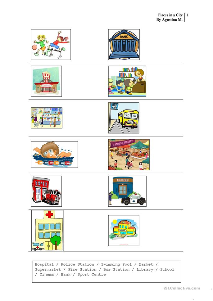 Places in a city - ESL worksheets