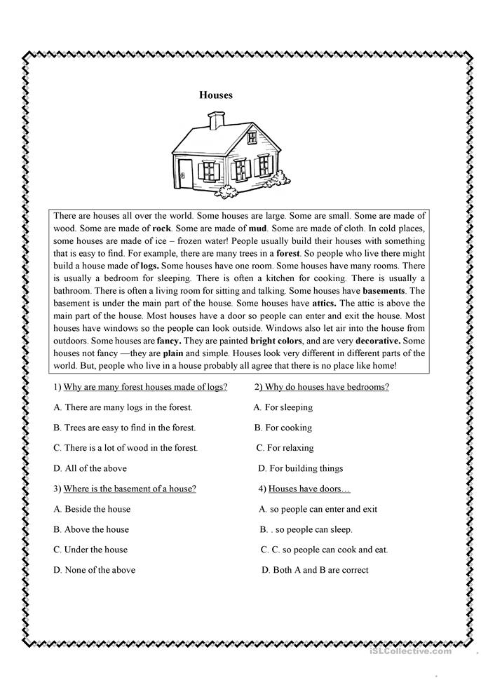 Reading Comprehension  - ESL worksheets