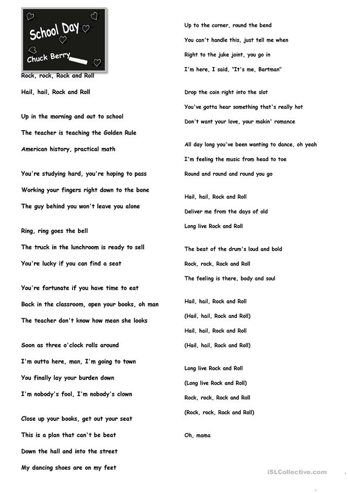 School Day Lyrics. - ESL worksheets