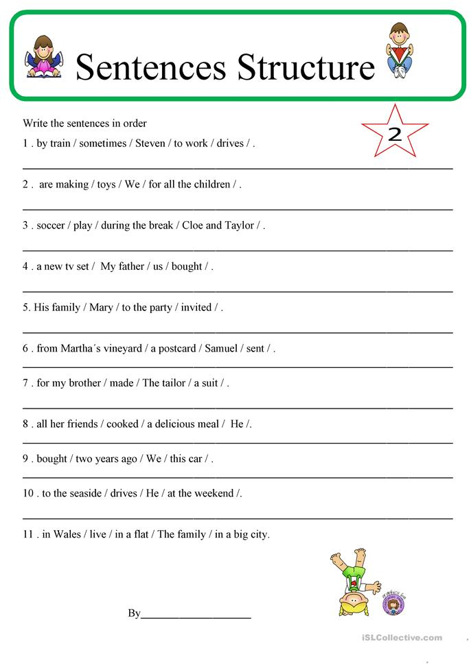 Sentence structure 2 | FREE ESL worksheets