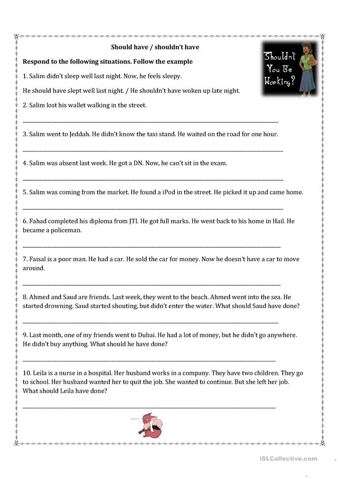 Should have / Shouldn't have - ESL worksheets