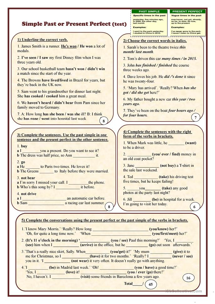 Simple Past or Present Perfect - ESL worksheets
