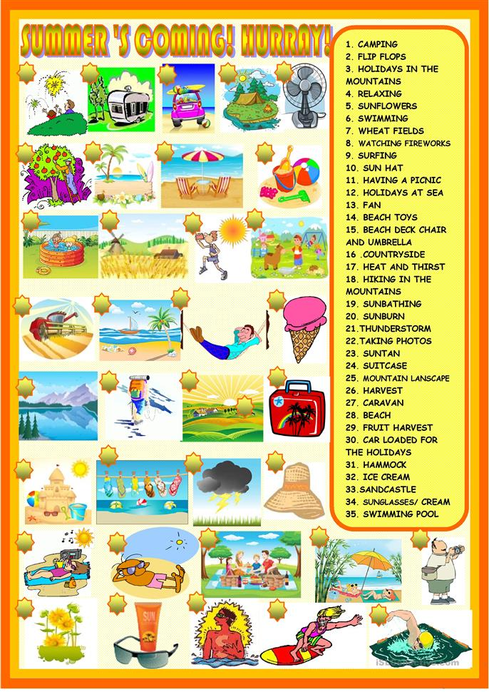 Summer's coming: matching - ESL worksheets