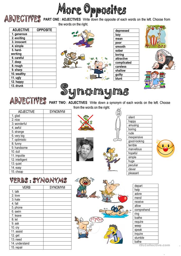 SYNONYMS AND OPPOSITES - ESL worksheets