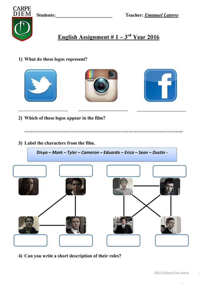 the social network worksheet - Free ESL printable worksheets made ...