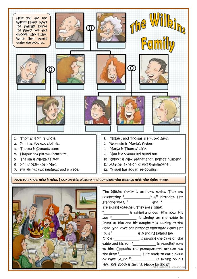 THE WILKINS FAMILY - ESL worksheets