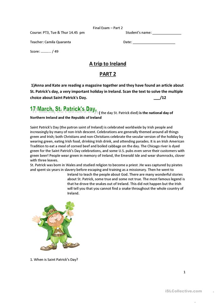 Worksheets For Pennsylvania : Topic based test part worksheet free esl printable