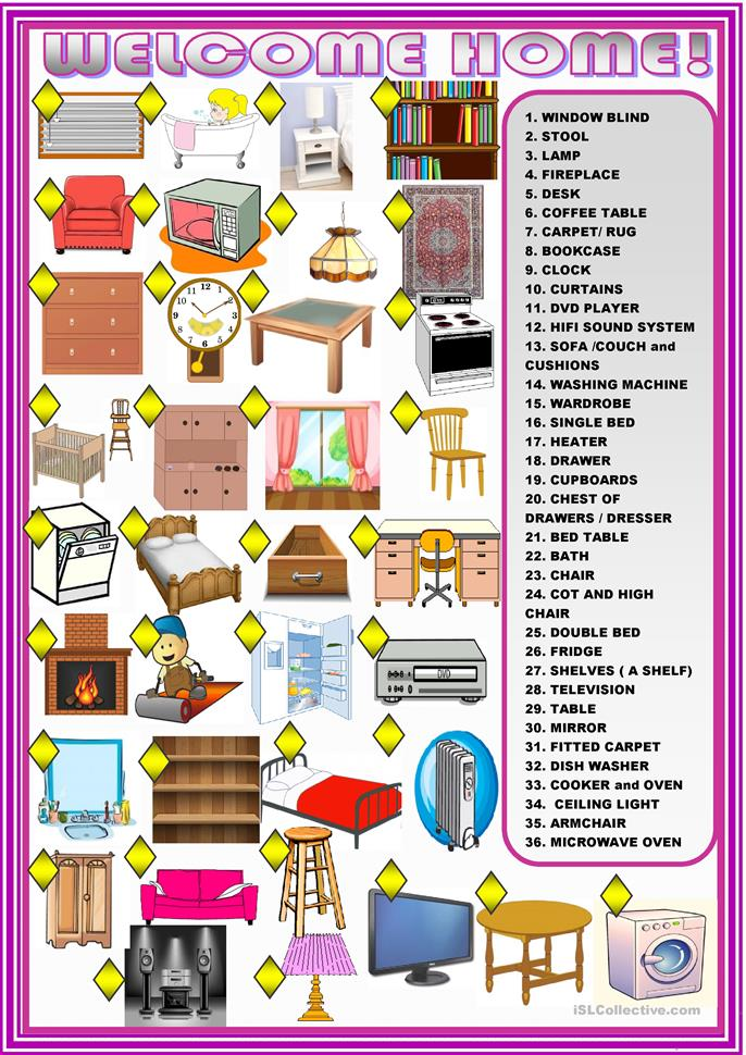 Welcome home: furniture : matching ac... - ESL worksheets