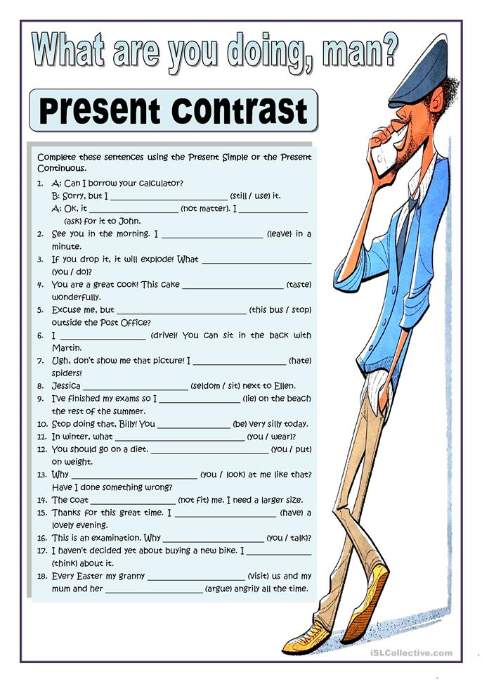 WHAT ARE YOU DOING, MAN? - PRESENT CO... - ESL worksheets