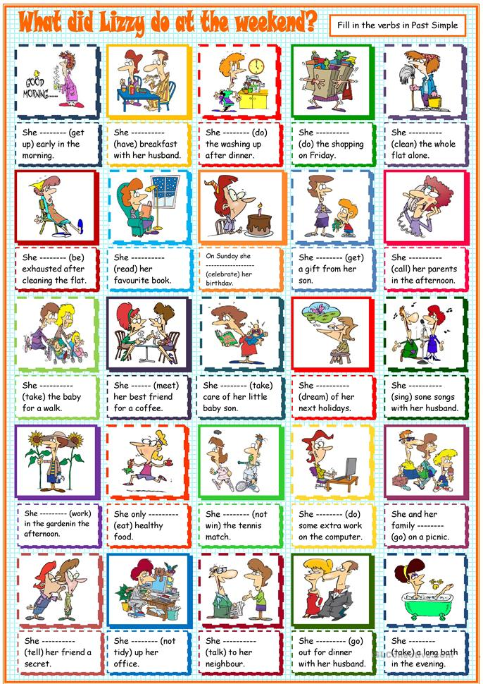 What did Lizzy do at the weekend? - ESL worksheets