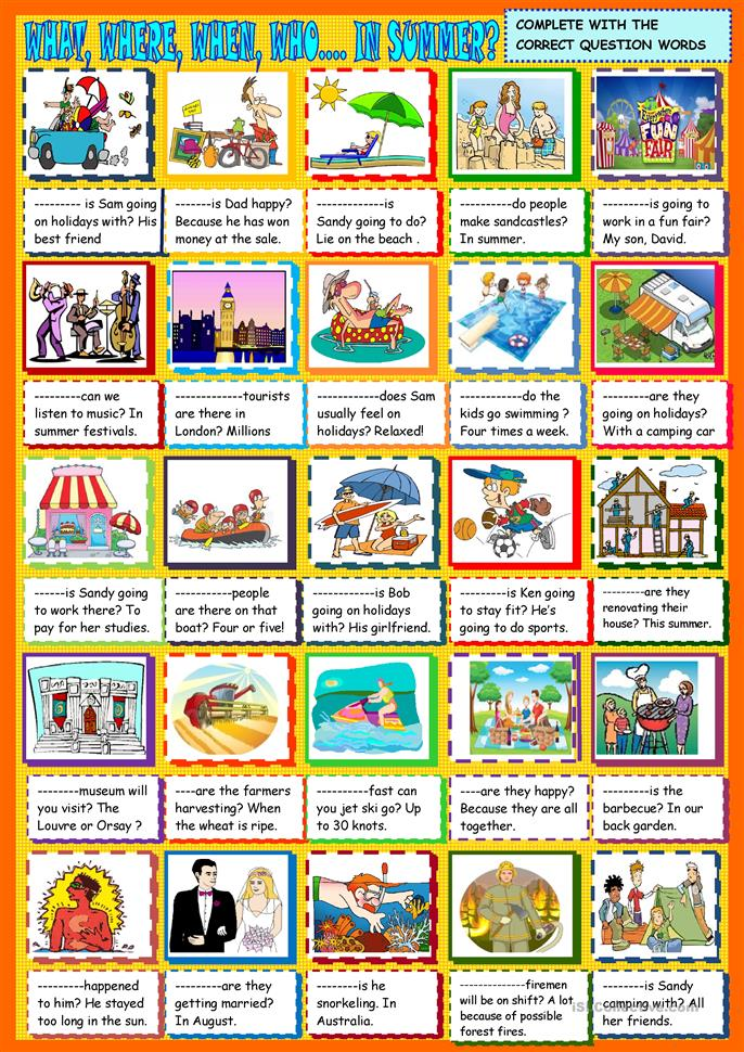 What , where when, who ....in summer: question words - ESL worksheets