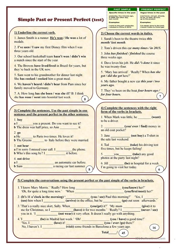 Simple Past or Present Perfect (test) worksheet - Free ESL printable