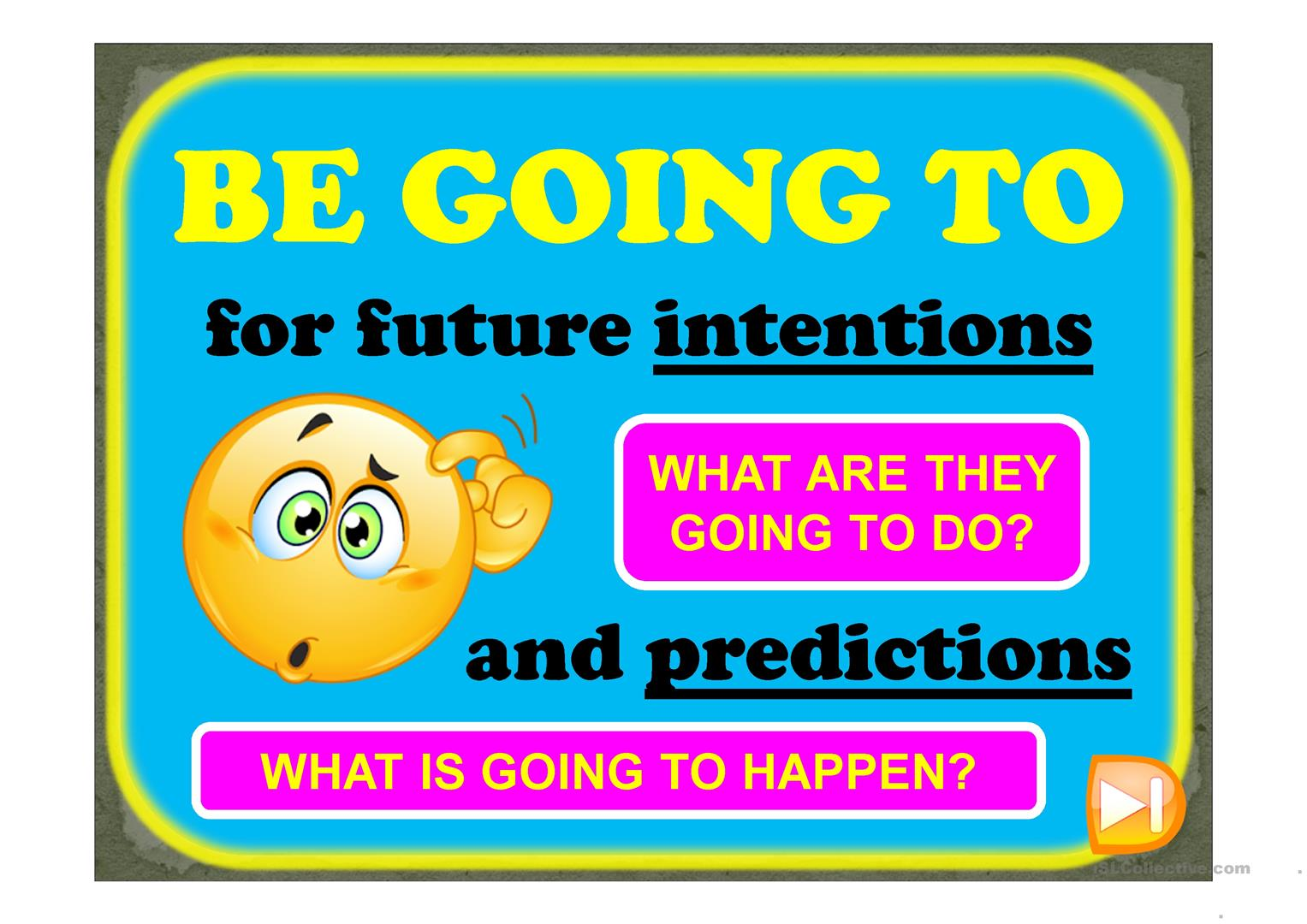 BE GOING TO - for predictions & intentions - English ESL Powerpoints for  distance learning and physical classrooms