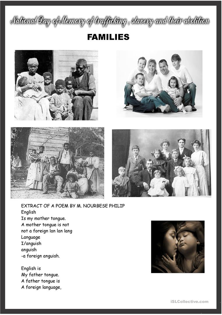 Famlies and English as a mother tongue : poem and picture