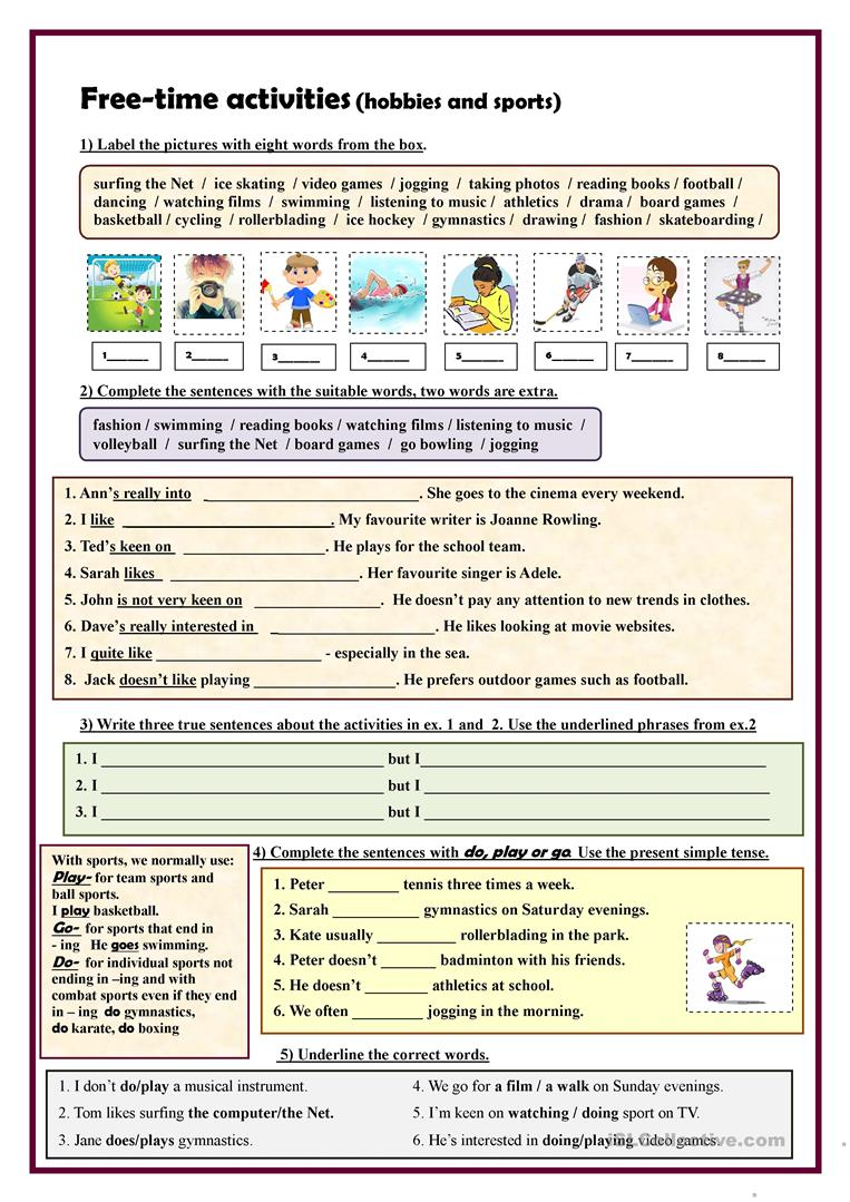 free time activities hobbies and sports exercises english esl worksheets. Black Bedroom Furniture Sets. Home Design Ideas