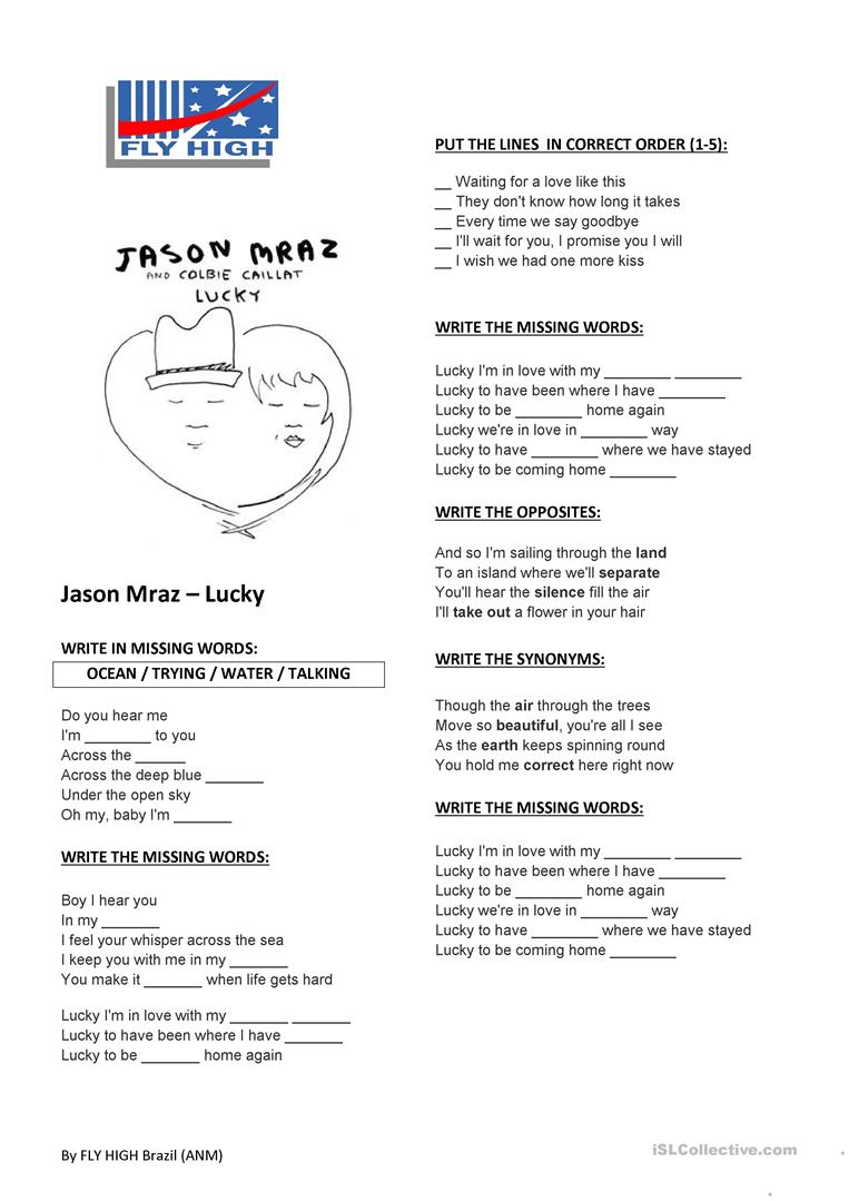 Jason Mraz Lucky English Esl Worksheets For Distance Learning And Physical Classrooms