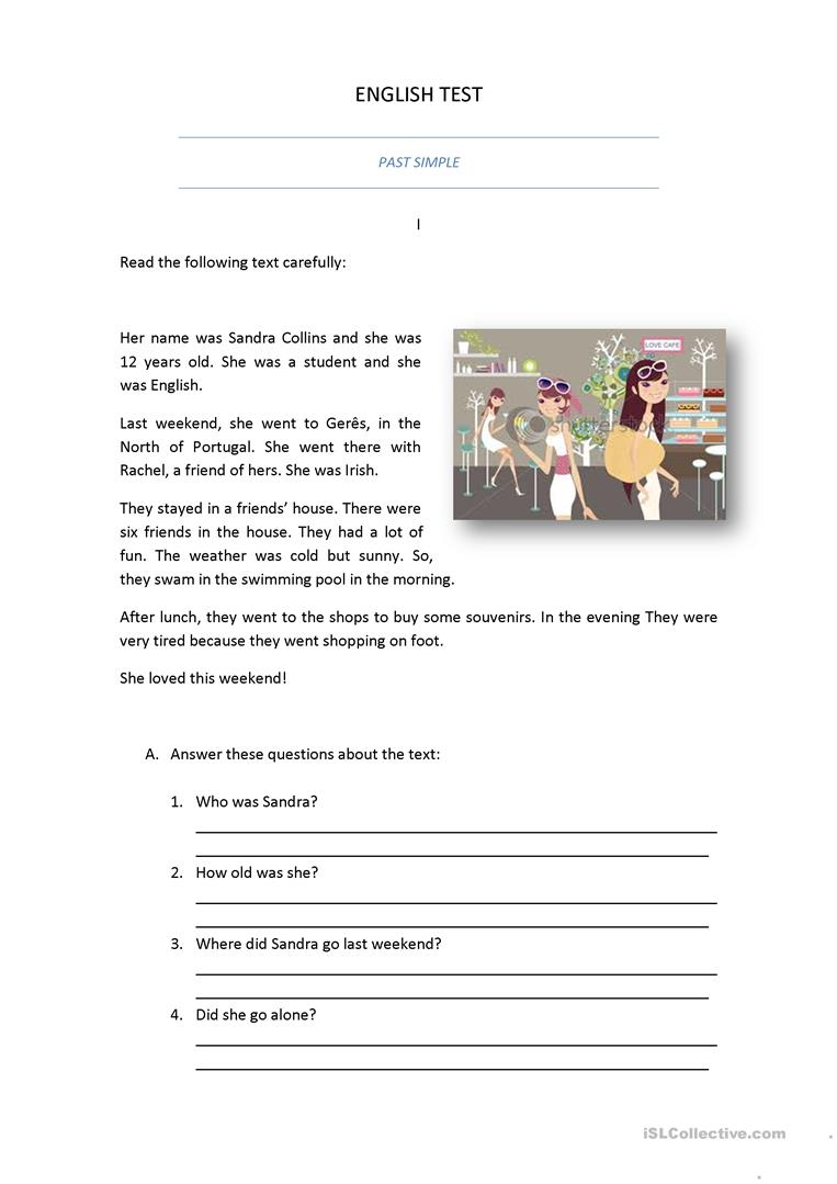- PAST SIMPLE TEST - English ESL Worksheets For Distance Learning