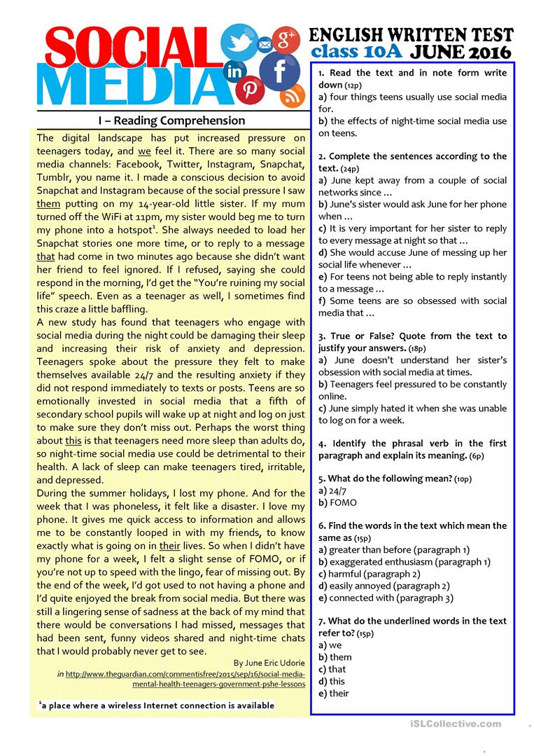 - SOCIAL MEDIA - 10th Grade Test - English ESL Worksheets For