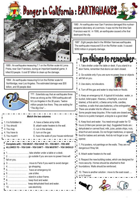 EARTHQUAKES : Danger in Californie worksheet - Free ESL printable ...