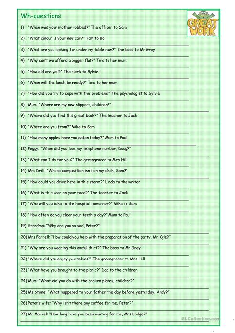 Wh questions reported speech worksheet free esl printable wh questions reported speech ibookread Read Online