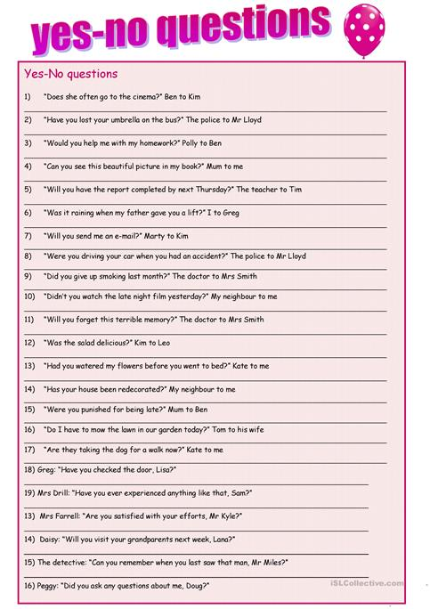 Yes- no questions reported speech worksheet - Free ESL printable ...