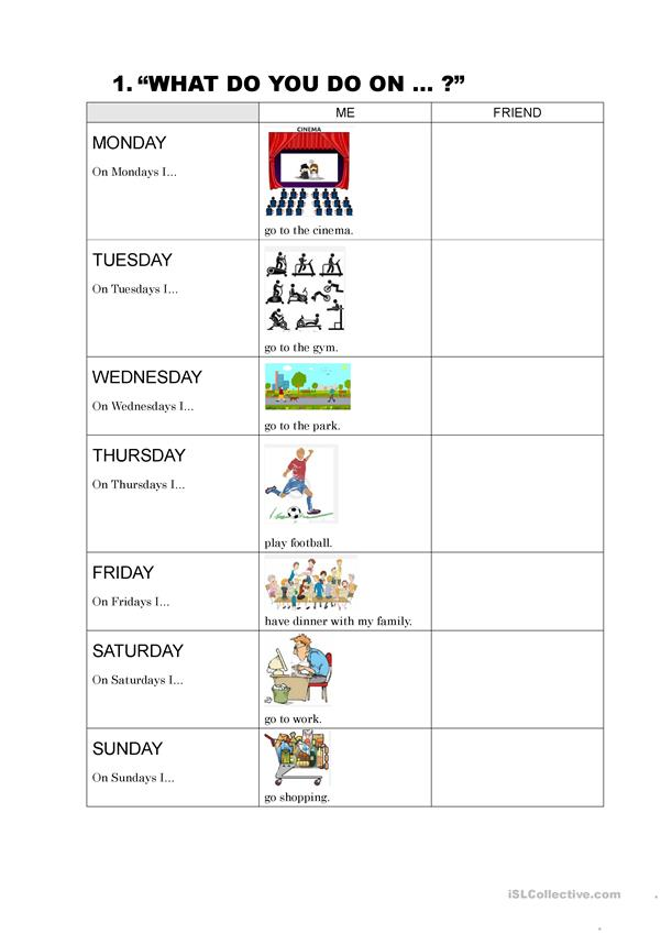 Days of the week activities