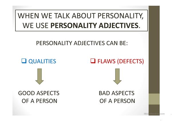 Personality adjectives presentation