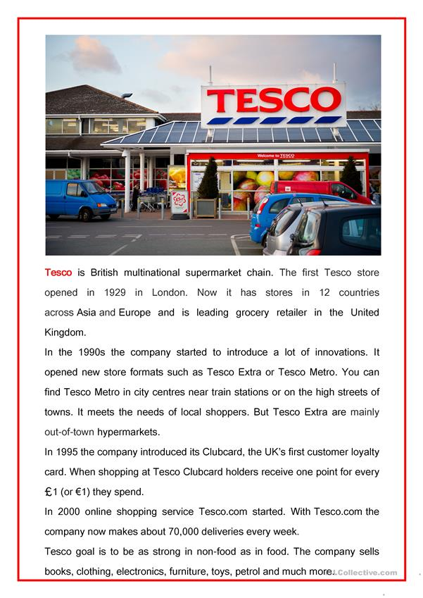 Read abot Tesco supermarkets