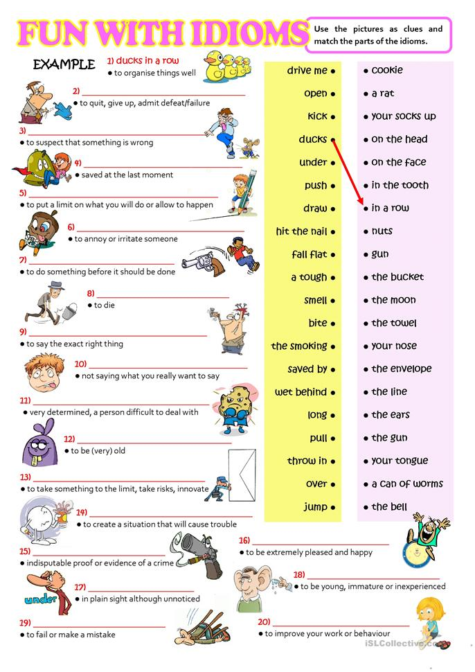 Esl Worksheets For Adults : Fun with idioms worksheet free esl printable worksheets