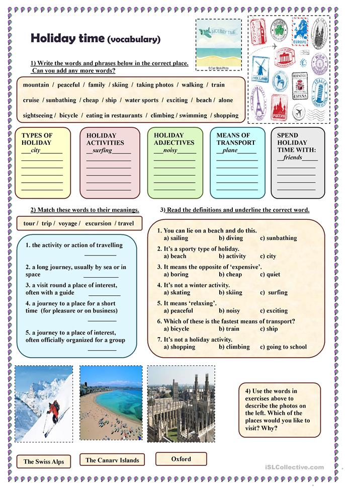 Holiday time (vocabulary) - ESL worksheets