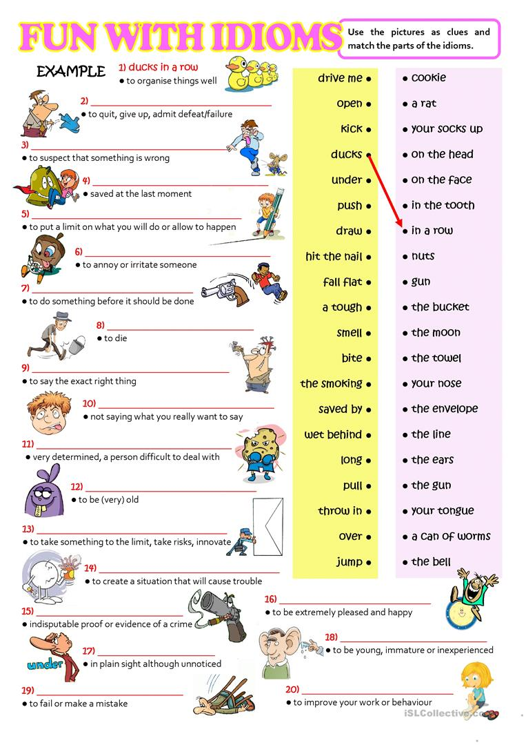 FUN WITH IDIOMS - English ESL Worksheets for distance ...