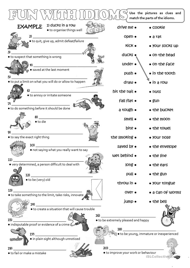 Worksheets Idiom Worksheets fun with idioms worksheet free esl printable worksheets made by full screen