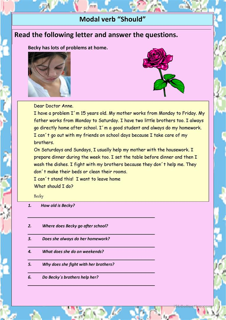 SHOULD Reading Prehension And Practice English