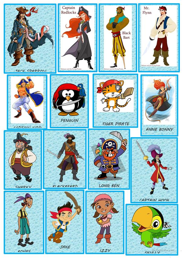 PIRATES CHARACTERS FLASH CARD GAME