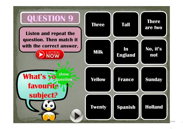 QUESTIONS & ANSWERS - a matching game (listening)