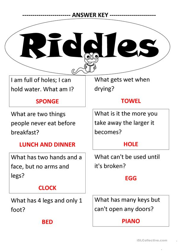 picture relating to Printable Riddles With Answers called Riddles - English ESL Worksheets