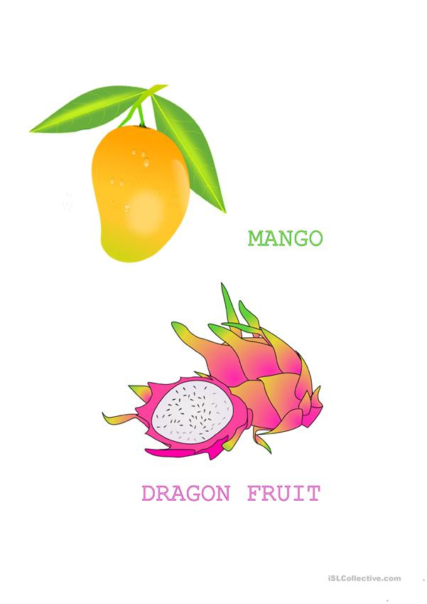Tropical fruit flashcards