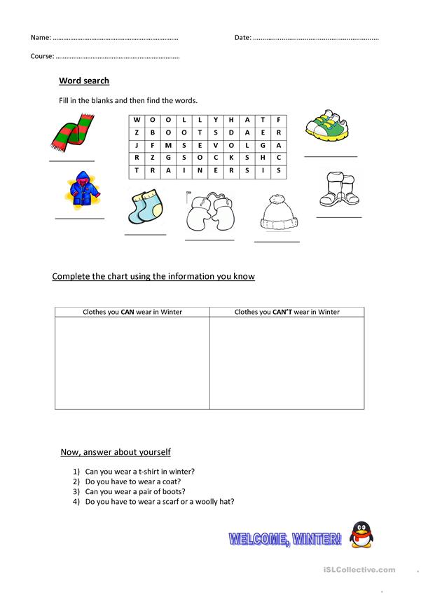 Wordsearch + Writing Activities (Can,/Can't, Have to)