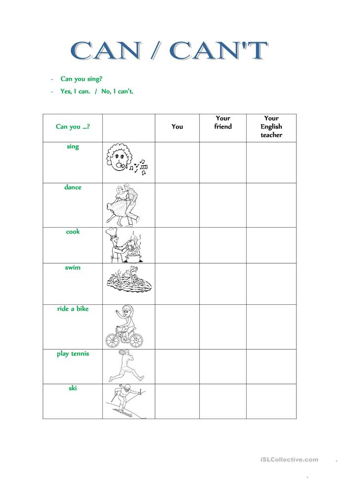 CAN / CANu0026#39;T worksheet - Free ESL printable worksheets made ...