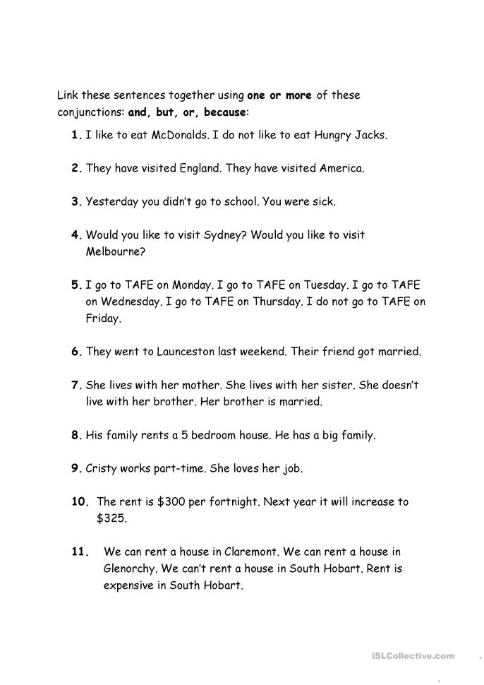 Conjunctions - and, but, or, because - ESL worksheets