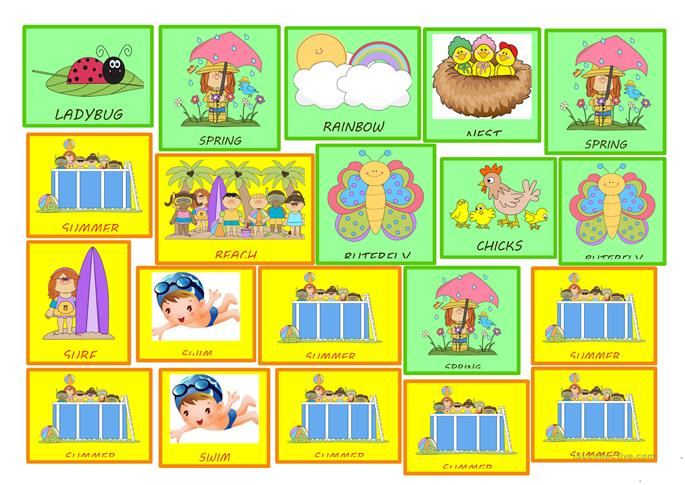 FOUR SEASONS STICKERS FOR KIDS - ESL worksheets